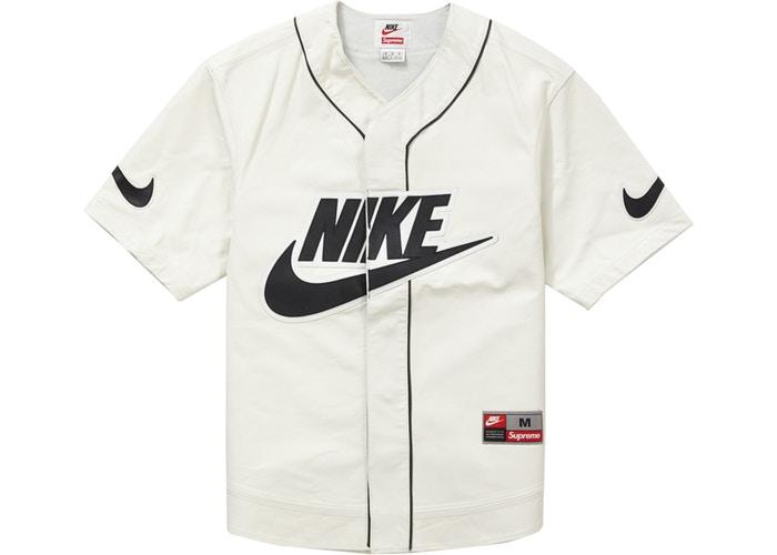 Supreme Nike Leather Baseball Jersey White Fall/Winter 2019